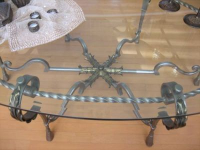 MARGE CARSON Oval Wrought Iron & Glass Top Coffee Table
