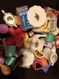 Plastic baby doll food and playes