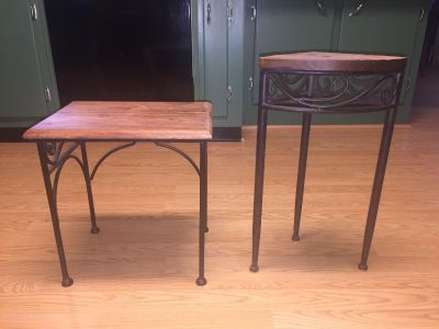 Two cute small benches for plants or decor. Wrought iron legs on both.