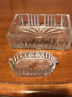 Antique glass ash trays or trucker holders. Large one 5 1/2 x 4, small one 2x4. Excellent condition no chips