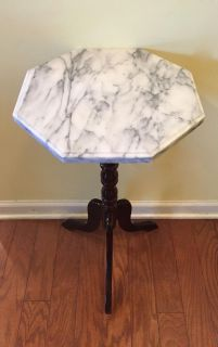 Marble Topped Table - 2' H x 1' W