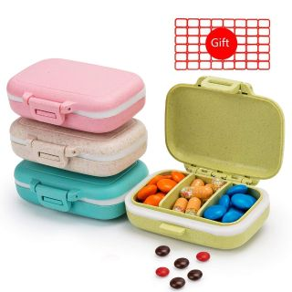 4PCS Pill Cases 3 Removable Compartments Pill Box Organizer Medicine Travel Pill Case
