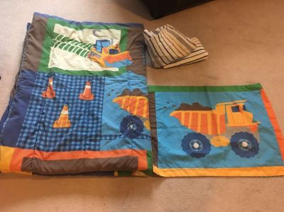 Twin size construction bedding set