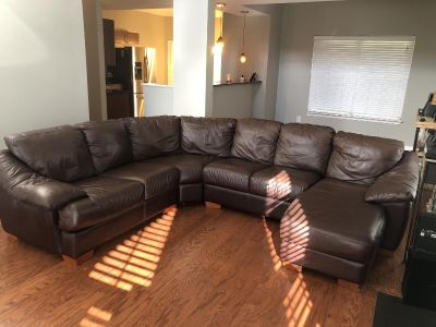 Havertys leather sectional