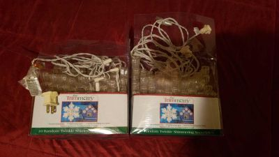 2 Sets of 10 OUTDOOR twinkle shimmering snowflakes