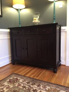 Crate And Barrel Solid Wood Buffet and Hutch Set