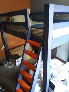 Twin wooden loft bed w/ w/o mattress - 2 available