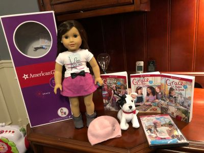 "18"" American girl doll of the year 2015 Grace Thomas... with original box, pet, and books (Retired)"