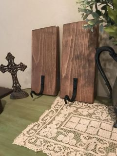 Two rustic wood wall hooks could be painted or left as is ppu only