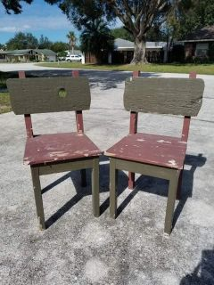 Vintage Set of DIY Wooden Chairs