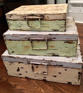 SHABBY CHIC STACKABLE STORAGE WOOD BOXES