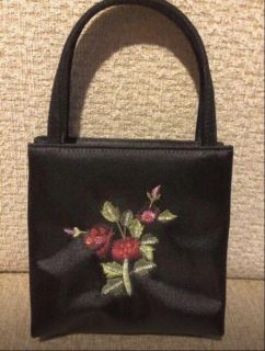 Vintage small satin Bag with intricate beading