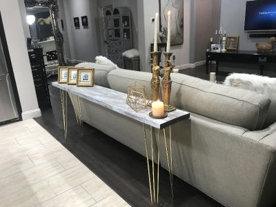 6 Foot Long Table - Mid Century Modern entry / sofa / Console Table - Industrial - Rustic Barn Wood / Gold
