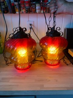 Mid century modern glass swag lamps