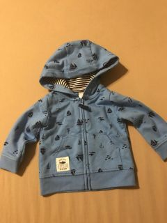 Blue boat and fish zip up hooded jacket - baby boy newborn - New without tags Just One You by Cater s
