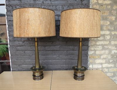 Mid Century Stiffel Lamps Pair Brass Lamps
