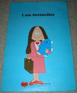 "Cartoon Cathy - ""I am Invincible"" - Vtg Poster 1982 - 14"" x 21""- Unframed"