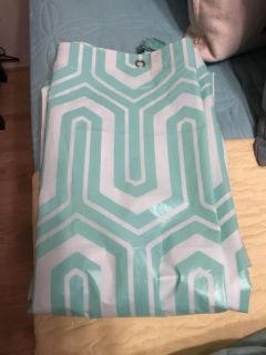 White and mint green plastic shower curtain good condition