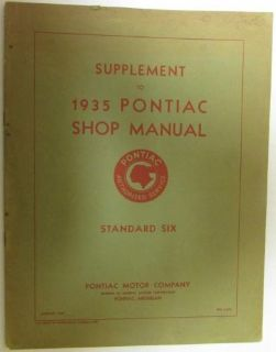 Sell Supplement to Pontiac 1935 Shop Manual Standard Six Original motorcycle in Holts Summit, Missouri, United States, for US $32.35