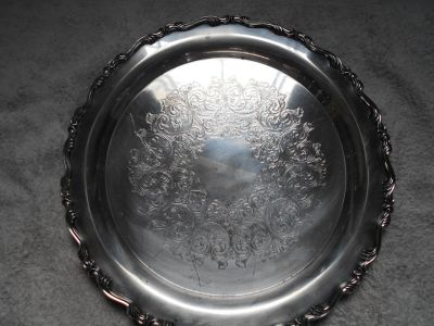 Vintage! ONEIDA 12 In Etched Silver Plate Round Serving Tray