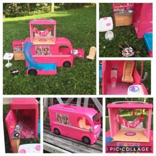 Barbie Pop-Up Camper w/Pool, nice condition, asking $50 (costs $141 at Walmart)