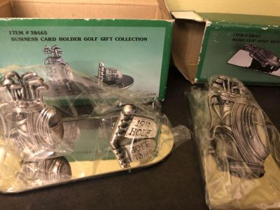 NIB 2 Golf themed items Business Card Holder and Memo Clip