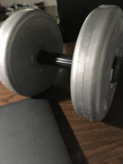 One Short Barbell with 2- 8 Lb. Weights