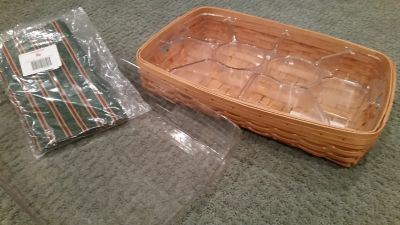 Longaberger Serving Tray, Regular and Divided Protector and Liner