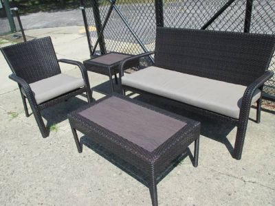 "Outdoor ""Wicker"" Loveseat, Cocktail Table, Chair, Side Table"