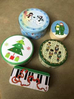 5-Assorted Sizes & Shapes of Christmas Tins, 1-Wooden Oval Box & Set of 3 Round Nesting Boxes