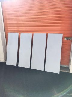 """Four White Wood Panels 4' Tall x 18"""" wide. Art Canvas"""