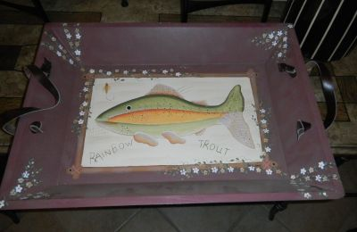 LARGE 22X16 Wooden Hand Painted Rainbow Trout Fish Tray Wood