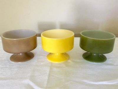 Federal Footed Ice Cream Bowls x 3