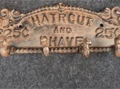 Antique Look Haircut and Shave in Cast Iron Hooks