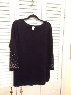Light Weight Sweater. XL. Black. Sequins and stones on sleeve. Like new