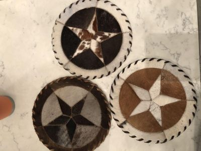 Rustic cowhide placemats
