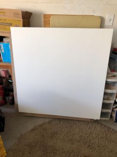 2 white wood table top panels