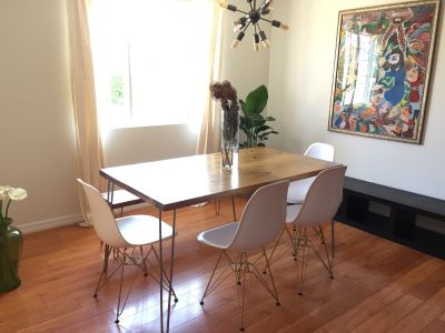 Modern Mid Century Dining table and bench