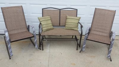 New / Iron 3 Piece Glider Bench & Rocking Chairs Patio Set