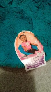 """My Life aqua color plush saucer chair for American Girl & 18"""" dolls. New w/tags"""
