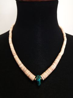 """20"""" Navajo Polished Clam Shell & Turquoise Heishi Necklace"""
