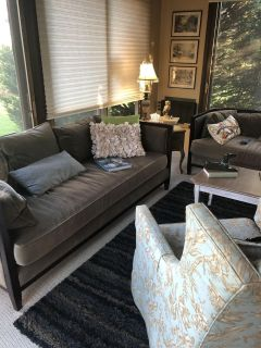 2 matching high end sofas! Great condition. Moving sale. $450 each. 78 inches long x30 deep x29 tall. Seat height is 18 inches.