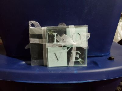 LOVE Themed Glass Coasters - Sold in Sets of 2 (17 Sets Available)