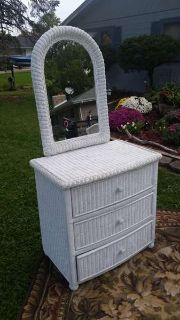 Bedroom Wicker Set Dresser Mirror Desk Chair Night Stand