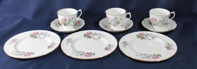 Royal Vale Fine Bone China 3 sets of Tea Cups and Saucers and Salad Plates