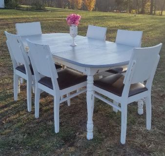 6-SEATER COUNTRY GRAY & WHITE FARMSTYLE DINING TABLE (CHAIRS SOLD SEPARATELY)