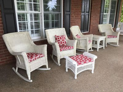 Real wicker patio set with cushions