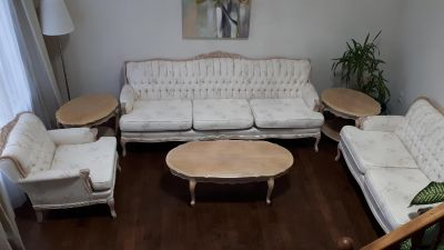 Chesterfield sofa set and tables
