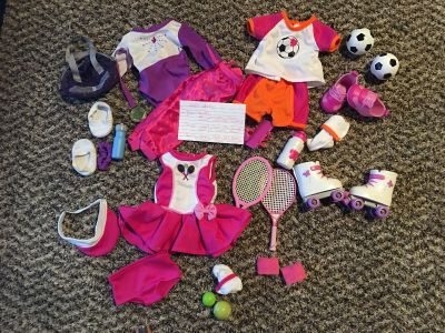 3 outfits gymnastics, soccer, and tennis fit 18 inch dolls