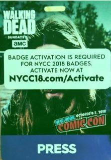 New York Comic Con 2018 Press Pass Badge Ticket NYCC 10/4/2018-10/7/2018
